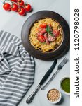 view from above of pasta with... | Shutterstock . vector #1120798028