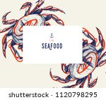 seafood banner set. hand drawn... | Shutterstock .eps vector #1120798295