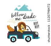 cute lion traveling in car. fun ... | Shutterstock .eps vector #1120798472