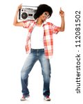 Funky man listening to music on the radio - isolated over a white background - stock photo