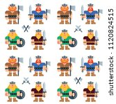 viking man warrior flat vector... | Shutterstock .eps vector #1120824515