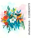 decorative watercolor flowers.... | Shutterstock . vector #1120824575