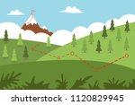 mountain climbing route with... | Shutterstock .eps vector #1120829945