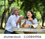 happy senior couple picnicking... | Shutterstock . vector #1120844906
