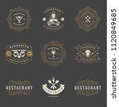 restaurant logos design... | Shutterstock .eps vector #1120849685