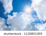sun on blue sky with white... | Shutterstock . vector #1120851305