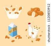 almond milk splash  glass ... | Shutterstock .eps vector #1120853912
