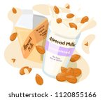 almond milk in a pack and... | Shutterstock .eps vector #1120855166