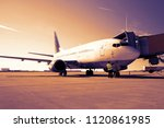 handling of an aircraft at the... | Shutterstock . vector #1120861985