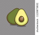 ripe green avocado. fruits... | Shutterstock .eps vector #1120873832