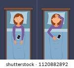 sleepless woman face cartoon...   Shutterstock . vector #1120882892