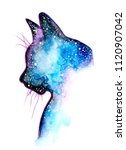Stock photo hand painted cat silhouette with galaxy watercolor effect 1120907042
