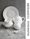 a set of white ceramic ware   Shutterstock . vector #1120943288