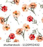 flowers pattern watercolor...   Shutterstock .eps vector #1120952432