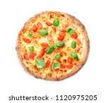 delicious pizza on white... | Shutterstock . vector #1120975205