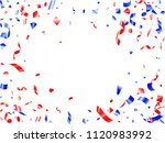 red blue glossy confetti flying ... | Shutterstock .eps vector #1120983992