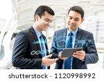 businessmen discussing... | Shutterstock . vector #1120998992