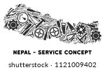 Repair service Nepal map mosaic of tools. Abstract territorial scheme in gray color. Vector Nepal map is designed of gearwheels, hammers and other mechanics items. Concept of technician company.