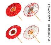 Asian Paper Umbrellas Isolated...