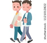 men to help the visually... | Shutterstock .eps vector #1121012822