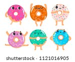 hand drawn donuts with various... | Shutterstock .eps vector #1121016905
