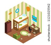 Stock vector modest student accommodation room in the hostel is in isometric 1121025542