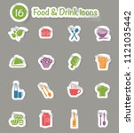 food and drink vector icon set | Shutterstock .eps vector #1121035442