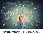 puzzled young woman in front of ... | Shutterstock . vector #1121035658