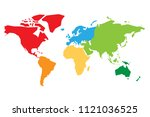 world map divided into six... | Shutterstock .eps vector #1121036525