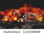 jewelry with amber stones ... | Shutterstock . vector #1121038085