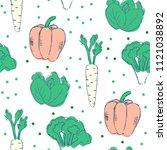 farm vegetables vector poster.... | Shutterstock .eps vector #1121038892