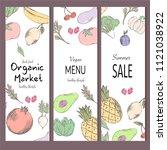 farm vegetables vector poster.... | Shutterstock .eps vector #1121038922