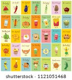 funny cards with healthy and... | Shutterstock .eps vector #1121051468
