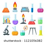 beakers and burners. vector... | Shutterstock .eps vector #1121056382