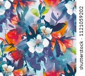 watercolour floral seamless... | Shutterstock . vector #1121059202