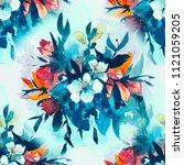 watercolour floral seamless... | Shutterstock . vector #1121059205