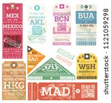 retro baggage tags. vector... | Shutterstock .eps vector #1121059298