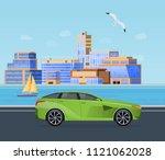trip along an asphalt road on... | Shutterstock .eps vector #1121062028