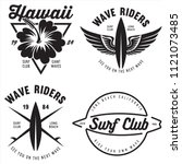 set of vintage surfing graphics ... | Shutterstock .eps vector #1121073485