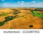 Aerial of prairie farms near Yorkton, Saskatchewan, Canada