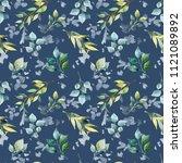 watercolor flower seamless... | Shutterstock . vector #1121089892