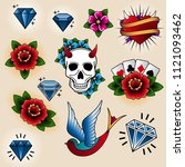 vector collection of tattoo... | Shutterstock .eps vector #1121093462