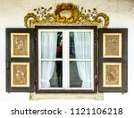 typical old bavarian window | Shutterstock . vector #1121106218