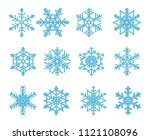 the blue snowflakes isolated on ... | Shutterstock . vector #1121108096