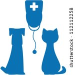 Stock vector blue symbol of veterinary medicine with doctor dog and cat silhouette 112112258