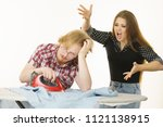 woman trying to convince his...   Shutterstock . vector #1121138915