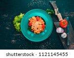 farfalle pasta with tomatoes... | Shutterstock . vector #1121145455