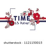 Flower Print And Slogan. For T...