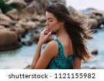 portrait of a profile of a girl ... | Shutterstock . vector #1121155982