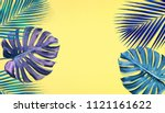 tropical palm leaves and... | Shutterstock . vector #1121161622